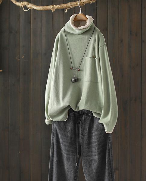 軟糯微彈純棉假兩件卷邊高領針織衫寬鬆長袖毛衣/設計家Y7965