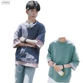 CPMAX 韓版潮流 假兩件撞色五分短T 寬鬆舒適 短袖上衣 五分T恤 大學T T84