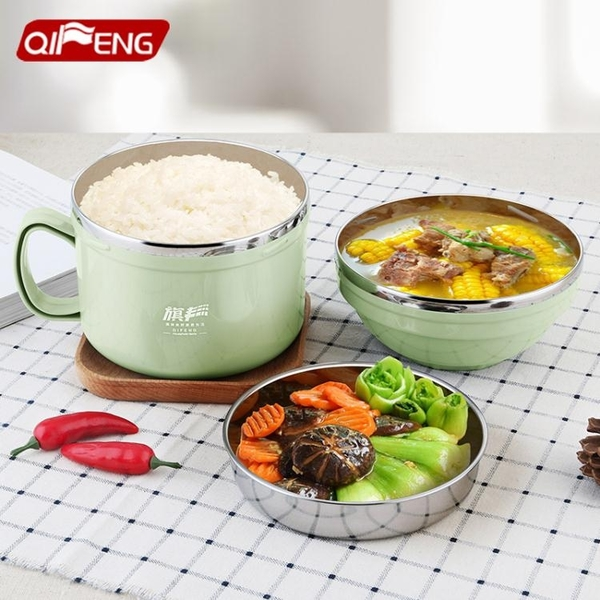 304不銹鋼泡面碗帶蓋吃飯碗食堂飯盒一人單個便當盒學生碗筷套裝 【母親節優惠】