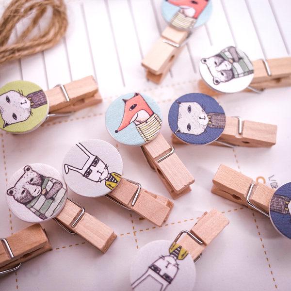 PGS7 其他卡通系列商品 - 動物 紳士 小木夾組 可裝飾 牆壁 照片牆 造型夾【SHZ71074】