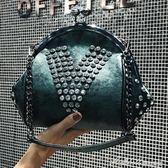 貝殼包 貝殼包百搭時尚迷你手提單肩小包簡約斜背鉚釘鉆鏈條包   蜜拉貝爾