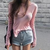 長袖針織衫-純色休閒簡約百搭女T恤73hn53[時尚巴黎]