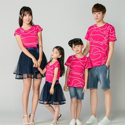 韓版不規則曲線短袖上衣親子裝(男童)