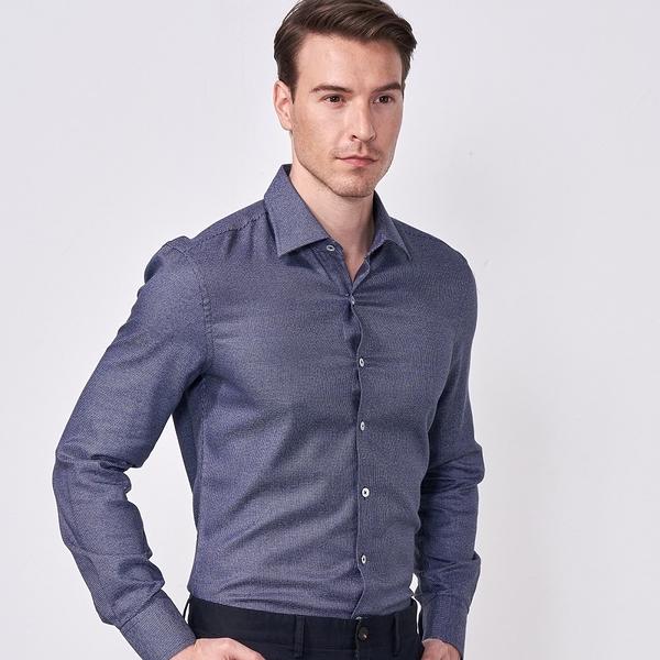SST&C 男裝 千鳥紋深藍色襯衫   0312009020