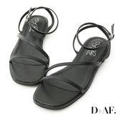 涼鞋 D+AF 完美品味.一字斜帶繫踝平底涼鞋*黑