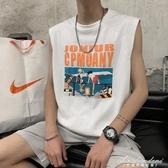 背心坎肩男個性潮流嘻哈無袖t恤寬鬆ins夏季夏天運動短袖外穿 黛尼時尚精品