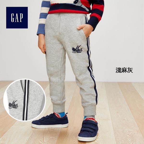 Gap男嬰幼童 logo兒童刷毛束口褲 中大童柔軟運動褲358914-淺麻灰