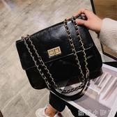 包包女2020新款春夏休閒斜挎小包單肩網紅小黑包香奶奶菱格錬條包-完美