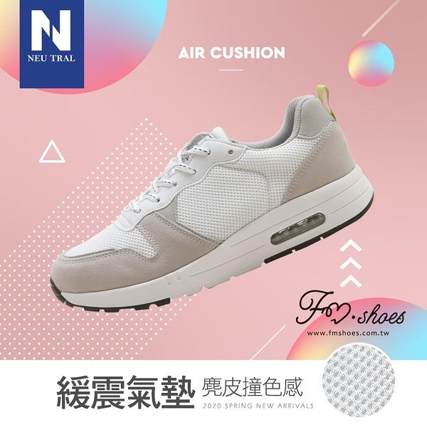 休閒鞋.麂皮撞色增高氣墊鞋(白)-大尺碼-FM時尚美鞋-NeuTral.Fashion