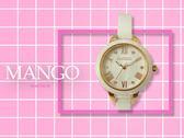 【時間道】MANGO 時尚典雅羅馬刻度腕錶 / 白貝面玫瑰金刻白陶 (MA6718L-81)免運費