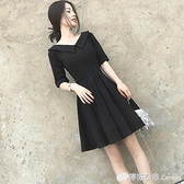 氣質女神范衣服超仙女森系赫本風小黑裙心機洋裝子夏季新款 618購物節