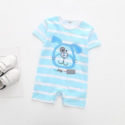 短袖連身衣 卡通動物 條紋肩開 連身裝 寶寶兔裝 XE10412