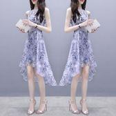 洋裝   碎花連身裙中長裙子雪紡印花無袖溫柔仙女裙收腰