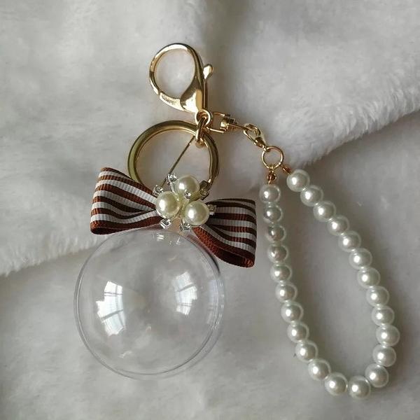 配件材料,5公分球殼+蝴蝶結帶鑽鑰匙圈,共16款