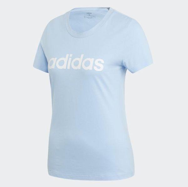 Adidas ESSENTIALS 女款水藍色短袖休閒上衣-NO.EI0695