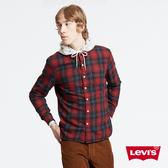 Levis 男款 法蘭絨襯衫 / 復古紅格紋 / Thermolite保暖科技