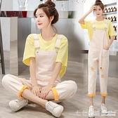 吊帶褲~吊帶褲兩件套女2021夏季新款小個子寬鬆韓版減齡可愛顯瘦網紅套裝