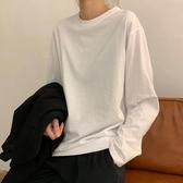 長袖T恤 白色t恤女韓版夏季新款寬松長袖打底衫薄款棉質夏短袖白t上衣【快速出貨】