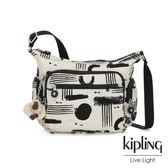 Kipling 幾何水墨塗鴉多袋實用側背包-GABBIE S