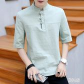 中國風棉麻t恤上衣 男裝中式短袖中袖上衣大碼亞麻T恤夏季寬鬆 BT541『男神港灣』