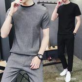 夏季套裝男棉麻亞麻休閒新款兩件套帥氣男士韓版潮流短袖T恤   時尚潮流