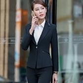 美之札[YL-7122-PF]中尺碼*劍型領口拼接單扣OL長袖西裝外套~秋冬款式~