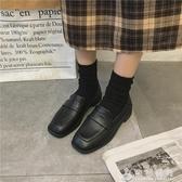 方頭復古小皮鞋女秋季新款韓版百搭低粗跟懶人樂福鞋英倫單鞋   伊衫風尚