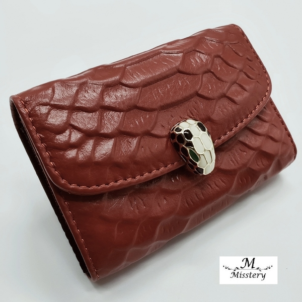 【Misstery】卡片夾牛皮壓紋卡片/名片夾-棕A99-021DCM