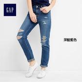 Gap女裝 輕質牛仔中腰修身男友牛仔褲 256649-深靛藍色