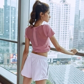 美背鏤空運動短袖跑步速干t恤女透氣健身房訓練秋季瑜伽服上衣 居享優品