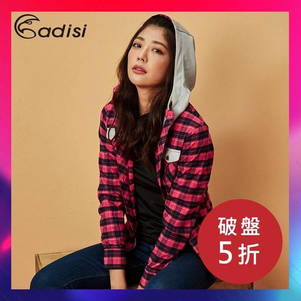 【下殺↘5折】ADISI 女格紋速乾保暖連帽襯衫 AL1821092 (S-2XL) / 城市綠洲 (中空保暖紗、刷毛帽、快乾)