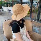 草帽女夏小清新韓版百搭沙灘出遊遮陽太陽帽草編大沿防曬漁夫帽 店慶降價