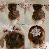 2018韓國丸子頭盤發器造型器懶人頭飾珍珠花朵燒邊盤發神器發飾