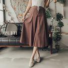 (現貨-黑)PUFII-中長裙 顯瘦單釦鬆緊高腰傘擺麂皮中長裙 3色 0823 現+預 秋【CP15040】
