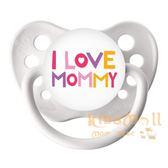 美國 ulubulu ,個性化造型安撫奶嘴,德國製I Love Mommy-White