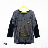 【INI】巴黎季節、配色寬版弧度上衣.鐵灰色