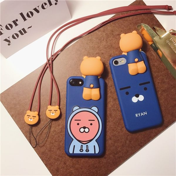 iPhone手機殼 送同款掛繩 韓國代購 RYAN獅 矽膠軟殼全包  蘋果iPhone7/iPhone6