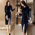 歐媛韓版 長袖洋裝 女神範氣質收腰顯瘦減齡包臀裙秋裝新款金絲絨開叉連身裙