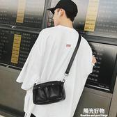 單肩斜背包新款時尚小包青年街頭皮質包休閒簡約出行斜跨包ipad包潮 陽光好物