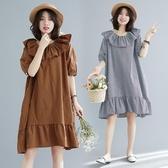 六月專屬價 大尺碼 女裝民族風小清新拼接顯瘦荷葉邊短袖洋裝 連身裙