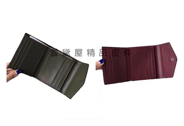 ~雪黛屋~COACH 短夾三折暗釦+拉鍊外袋國際正版保證進口防水防刮皮革品證購證盒等候10-15日C284451
