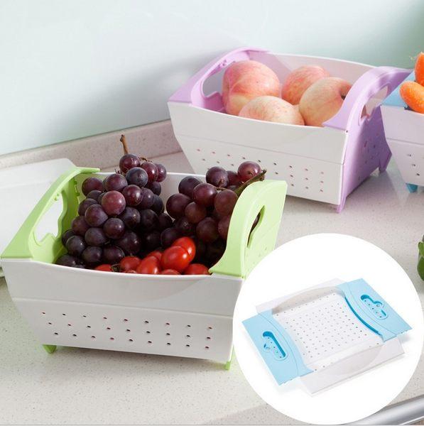 【Miss Sugar】創意摺疊蔬果籃 秒收洗菜瀝水籃 水果籃 廚房用品
