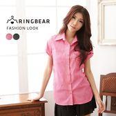 長版襯衫--活力甜心袖釦設計抓皺下襬點點口袋短袖襯衫(黑.桃M-2L)-H106眼圈熊中大尺碼