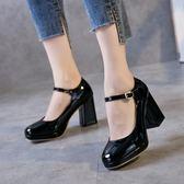 韓版時尚復古粗跟鞋百搭單鞋一字扣帶女鞋學生氣質