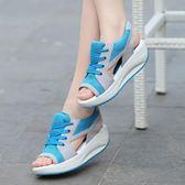 鬆糕底涼鞋 厚底坡跟透氣搖搖鞋 運動休閒鞋【多多鞋包店】z7202