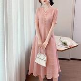 洋裝 韓系春夏蕾絲裙收腰法式氣質短袖連身長裙 共2色 S-L 依二衣