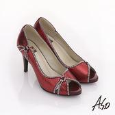 A.S.O 璀璨不夜城 奢華水鑽閃耀魚口跟鞋 紅色