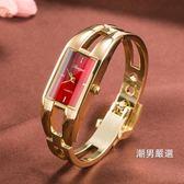優惠兩天-時尚潮流行女士手鐲腕錶簡約休閒石英防水電子錶韓國版配飾手錶5色