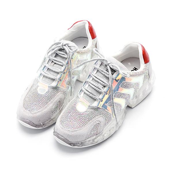 Hong Wa 穿了發大財-時尚水鑽網布厚底綁帶老爹鞋 - 銀