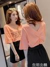 露背上衣 春夏季V領女士洋氣短袖心機T恤女設計感韓版露背ins潮上衣女 生活主義